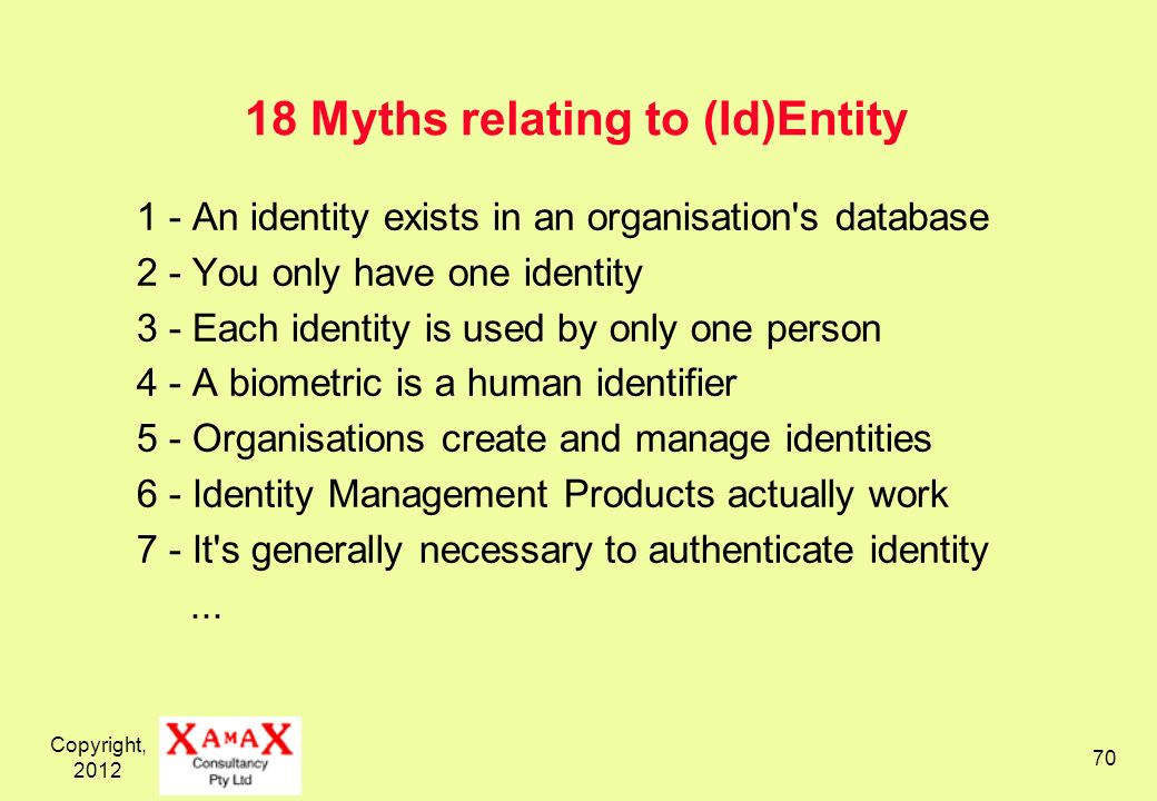 Copyright, Myths relating to (Id)Entity 1 - An identity exists in an organisation s database 2 - You only have one identity 3 - Each identity is used by only one person 4 - A biometric is a human identifier 5 - Organisations create and manage identities 6 - Identity Management Products actually work 7 - It s generally necessary to authenticate identity...