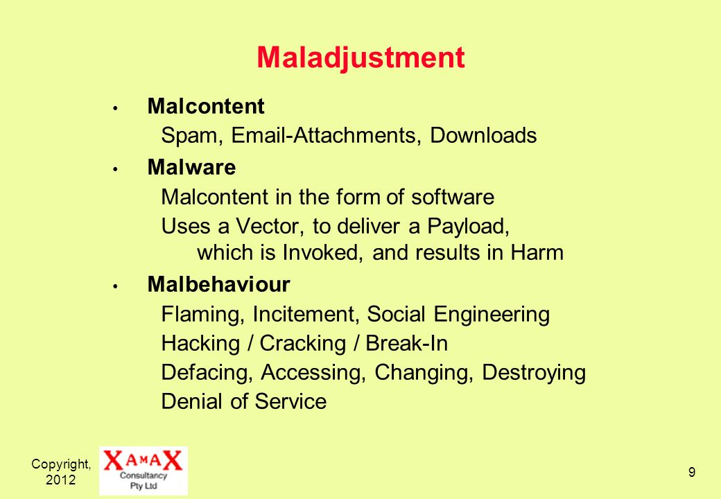 Copyright, Maladjustment Malcontent Spam,  -Attachments, Downloads Malware Malcontent in the form of software Uses a Vector, to deliver a Payload, which is Invoked, and results in Harm Malbehaviour Flaming, Incitement, Social Engineering Hacking / Cracking / Break-In Defacing, Accessing, Changing, Destroying Denial of Service