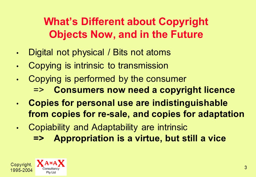Copyright, 1995-2004 3 Whats Different about Copyright Objects Now, and in the Future Digital not physical / Bits not atoms Copying is intrinsic to transmission Copying is performed by the consumer => Consumers now need a copyright licence Copies for personal use are indistinguishable from copies for re-sale, and copies for adaptation Copiability and Adaptability are intrinsic => Appropriation is a virtue, but still a vice