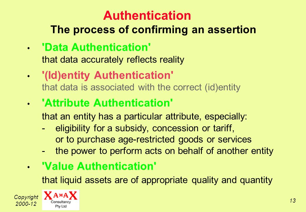 Copyright Authentication The process of confirming an assertion Data Authentication that data accurately reflects reality (Id)entity Authentication that data is associated with the correct (id)entity Attribute Authentication that an entity has a particular attribute, especially: -eligibility for a subsidy, concession or tariff, or to purchase age-restricted goods or services -the power to perform acts on behalf of another entity Value Authentication that liquid assets are of appropriate quality and quantity