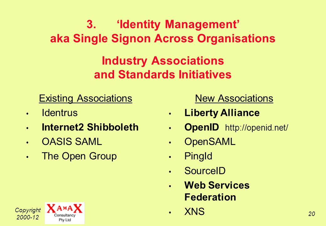 Copyright Identity Management aka Single Signon Across Organisations Industry Associations and Standards Initiatives Existing Associations Identrus Internet2 Shibboleth OASIS SAML The Open Group New Associations Liberty Alliance OpenID   OpenSAML PingId SourceID Web Services Federation XNS