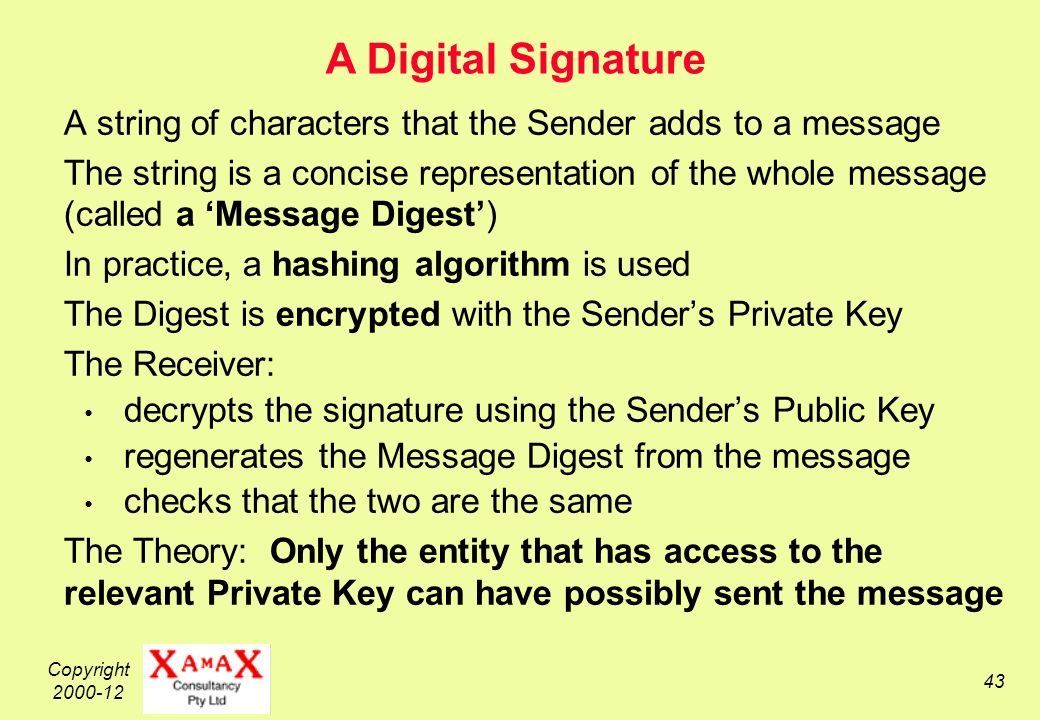 Copyright A string of characters that the Sender adds to a message The string is a concise representation of the whole message (called a Message Digest) In practice, a hashing algorithm is used The Digest is encrypted with the Senders Private Key The Receiver: decrypts the signature using the Senders Public Key regenerates the Message Digest from the message checks that the two are the same The Theory: Only the entity that has access to the relevant Private Key can have possibly sent the message A Digital Signature