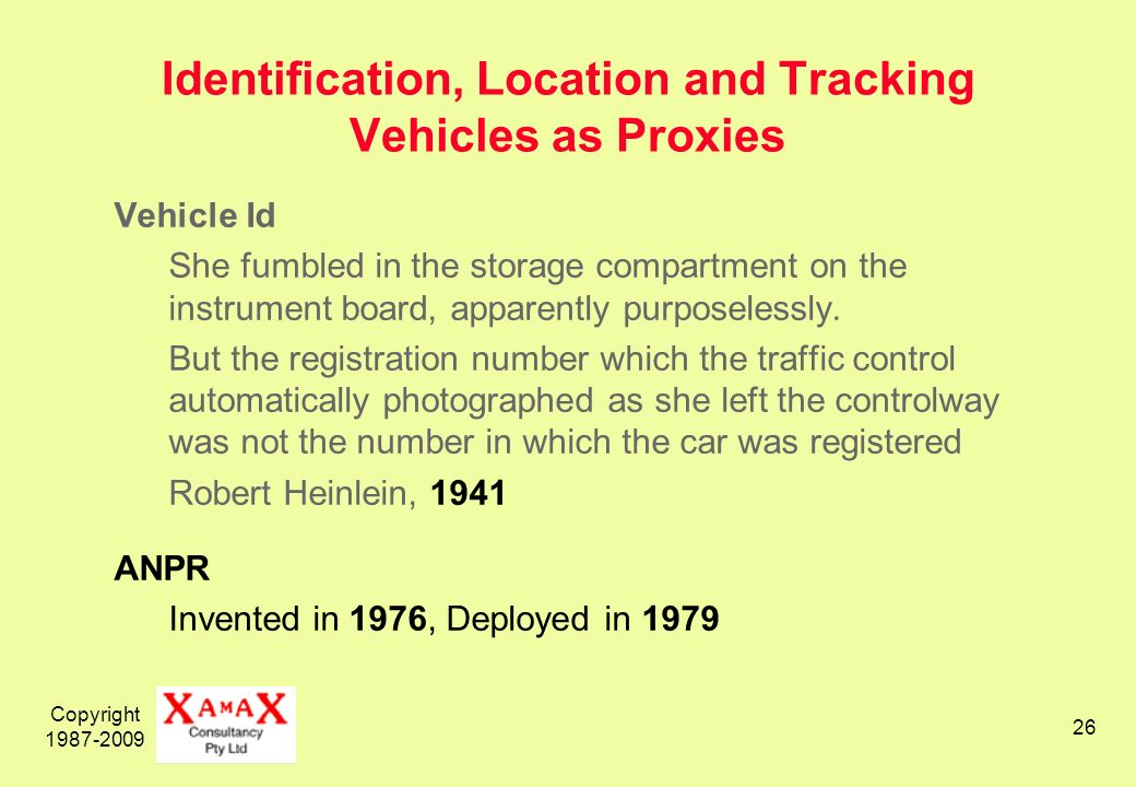 Copyright Identification, Location and Tracking Vehicles as Proxies Vehicle Id She fumbled in the storage compartment on the instrument board, apparently purposelessly.