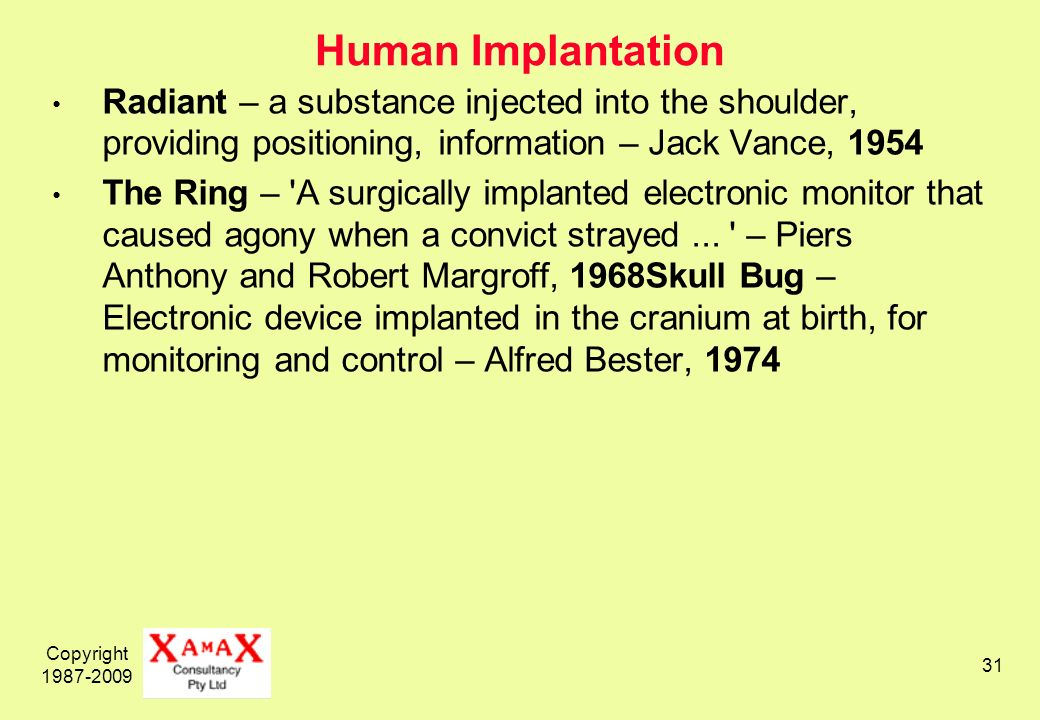 Copyright Human Implantation Radiant – a substance injected into the shoulder, providing positioning, information – Jack Vance, 1954 The Ring – A surgically implanted electronic monitor that caused agony when a convict strayed...