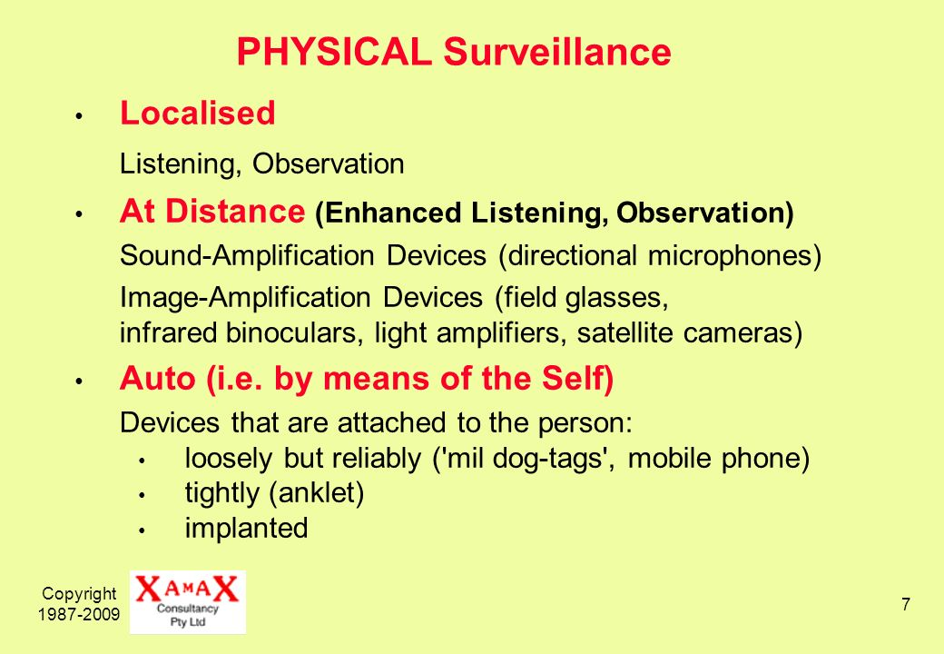 Copyright PHYSICAL Surveillance Localised Listening, Observation At Distance (Enhanced Listening, Observation) Sound-Amplification Devices (directional microphones) Image-Amplification Devices (field glasses, infrared binoculars, light amplifiers, satellite cameras) Auto (i.e.