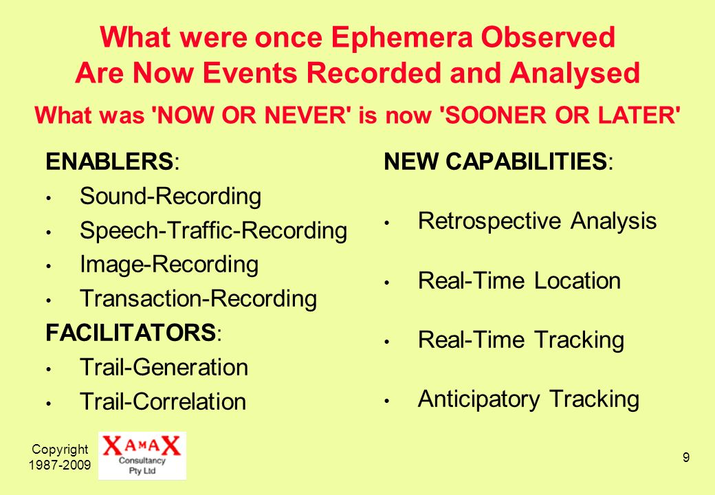 Copyright What were once Ephemera Observed Are Now Events Recorded and Analysed What was NOW OR NEVER is now SOONER OR LATER ENABLERS: Sound-Recording Speech-Traffic-Recording Image-Recording Transaction-Recording FACILITATORS : Trail-Generation Trail-Correlation NEW CAPABILITIES: Retrospective Analysis Real-Time Location Real-Time Tracking Anticipatory Tracking