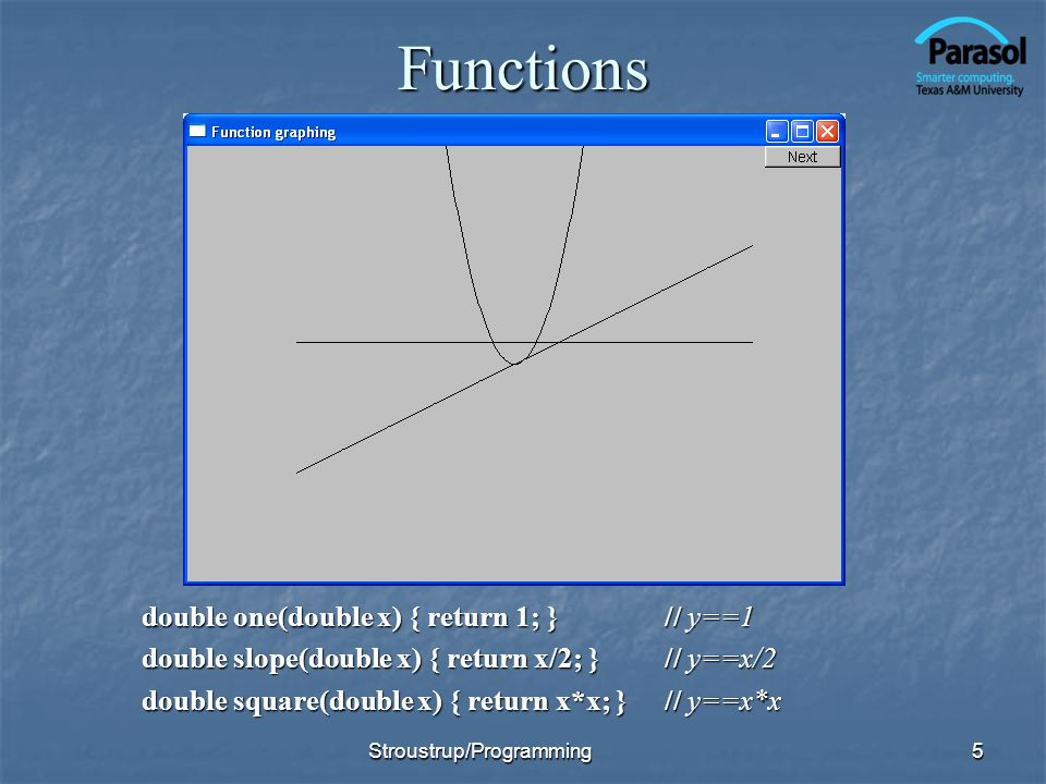 Functions double one(double x) { return 1; } // y==1 double slope(double x) { return x/2; }// y==x/2 double square(double x) { return x*x; } // y==x*x Stroustrup/Programming5