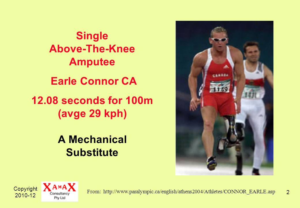 Copyright 2010-12 2 Single Above-The-Knee Amputee Earle Connor CA 12.08 seconds for 100m (avge 29 kph) A Mechanical Substitute From: http://www.paralympic.ca/english/athens2004/Athletes/CONNOR_EARLE.asp