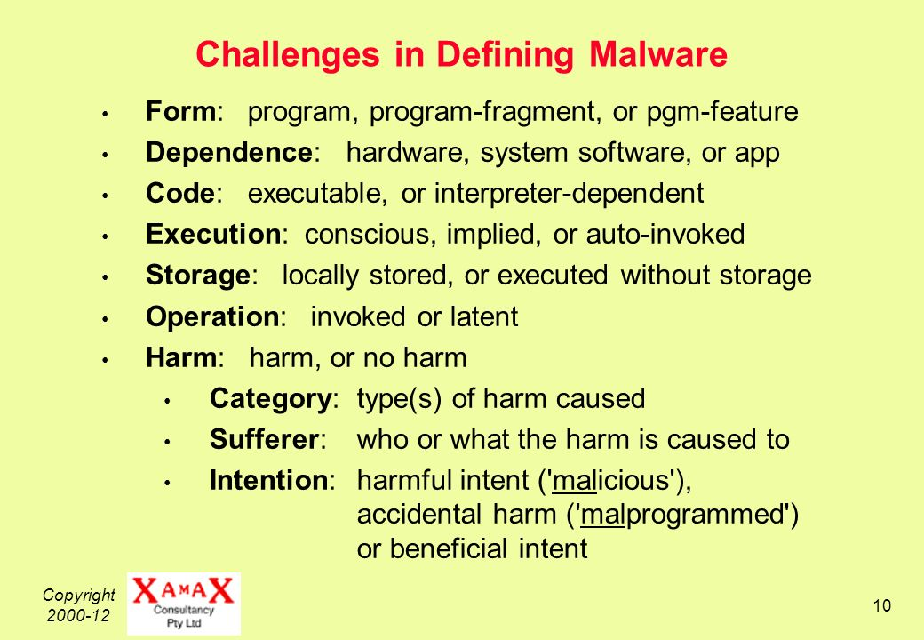 Copyright Challenges in Defining Malware Form: program, program-fragment, or pgm-feature Dependence: hardware, system software, or app Code: executable, or interpreter-dependent Execution: conscious, implied, or auto-invoked Storage: locally stored, or executed without storage Operation: invoked or latent Harm: harm, or no harm Category: type(s) of harm caused Sufferer:who or what the harm is caused to Intention: harmful intent ( malicious ), accidental harm ( malprogrammed ) or beneficial intent