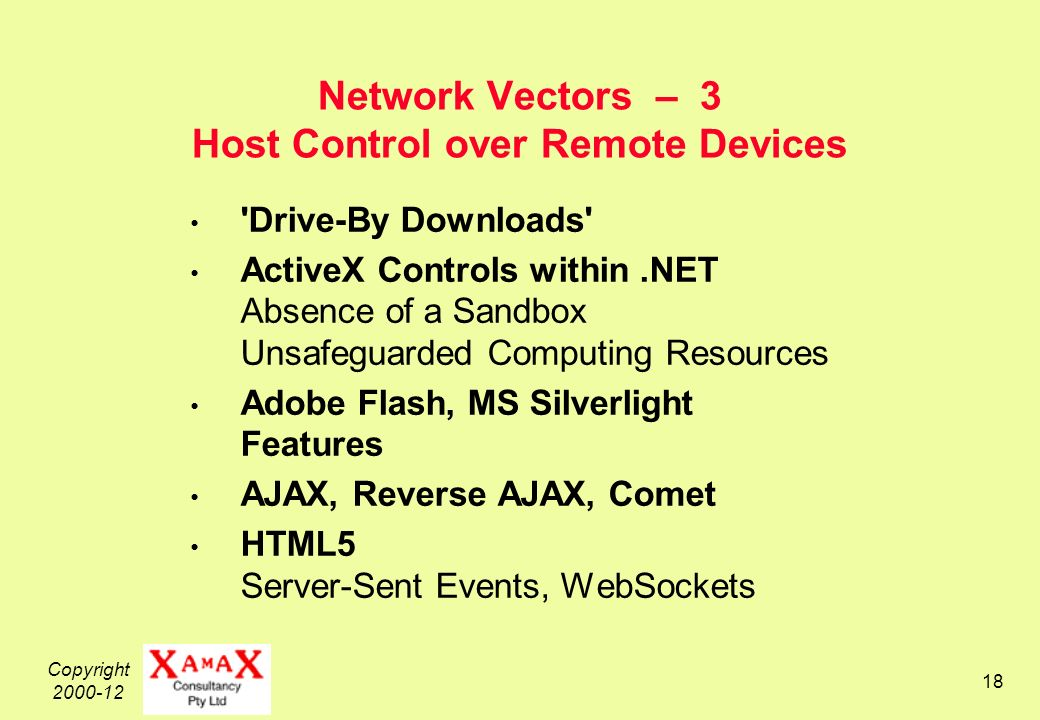 Copyright Network Vectors – 3 Host Control over Remote Devices Drive-By Downloads ActiveX Controls within.NET Absence of a Sandbox Unsafeguarded Computing Resources Adobe Flash, MS Silverlight Features AJAX, Reverse AJAX, Comet HTML5 Server-Sent Events, WebSockets