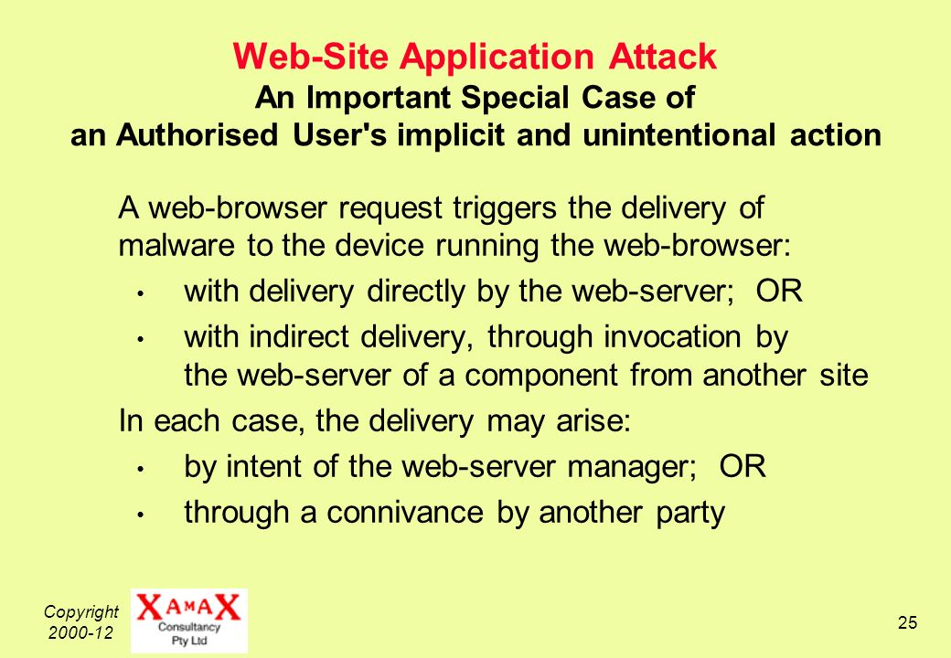 Copyright Web-Site Application Attack An Important Special Case of an Authorised User s implicit and unintentional action A web-browser request triggers the delivery of malware to the device running the web-browser: with delivery directly by the web-server; OR with indirect delivery, through invocation by the web-server of a component from another site In each case, the delivery may arise: by intent of the web-server manager; OR through a connivance by another party