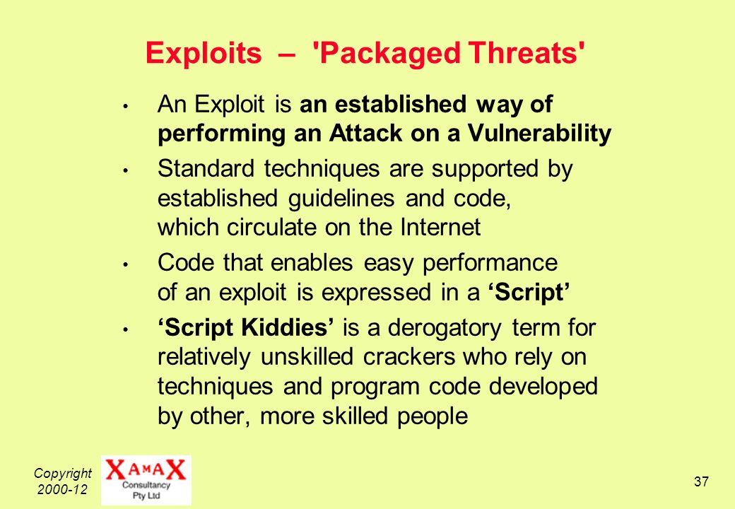 Copyright Exploits – Packaged Threats An Exploit is an established way of performing an Attack on a Vulnerability Standard techniques are supported by established guidelines and code, which circulate on the Internet Code that enables easy performance of an exploit is expressed in a Script Script Kiddies is a derogatory term for relatively unskilled crackers who rely on techniques and program code developed by other, more skilled people