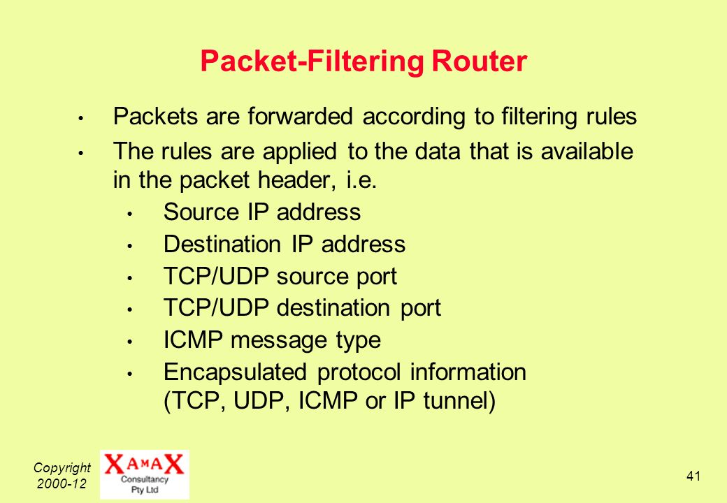 Copyright Packet-Filtering Router Packets are forwarded according to filtering rules The rules are applied to the data that is available in the packet header, i.e.
