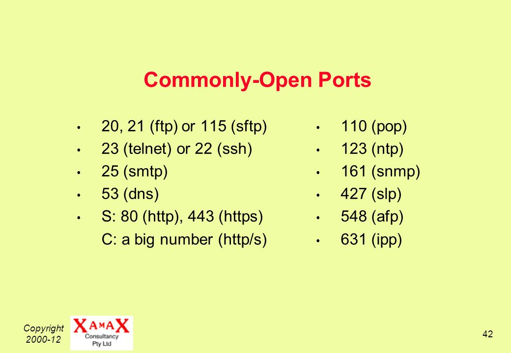 Copyright Commonly-Open Ports 20, 21 (ftp) or 115 (sftp) 23 (telnet) or 22 (ssh) 25 (smtp) 53 (dns) S: 80 (http), 443 (https) C: a big number (http/s) 110 (pop) 123 (ntp) 161 (snmp) 427 (slp) 548 (afp) 631 (ipp)