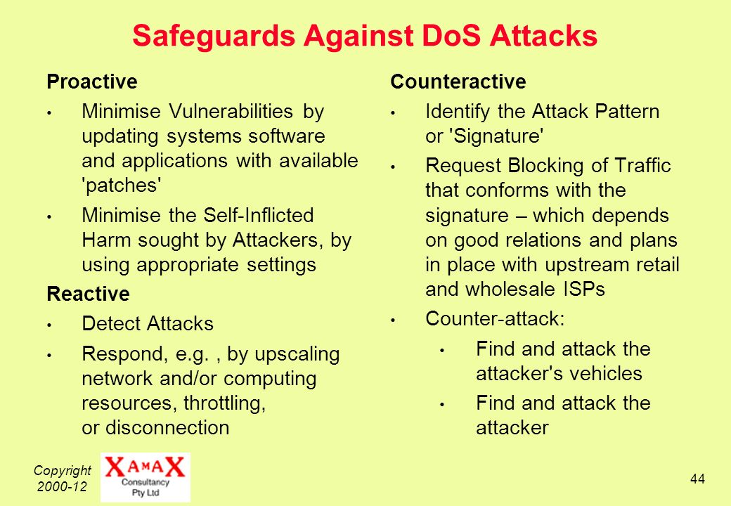 Copyright Safeguards Against DoS Attacks Proactive Minimise Vulnerabilities by updating systems software and applications with available patches Minimise the Self-Inflicted Harm sought by Attackers, by using appropriate settings Reactive Detect Attacks Respond, e.g., by upscaling network and/or computing resources, throttling, or disconnection Counteractive Identify the Attack Pattern or Signature Request Blocking of Traffic that conforms with the signature – which depends on good relations and plans in place with upstream retail and wholesale ISPs Counter-attack: Find and attack the attacker s vehicles Find and attack the attacker