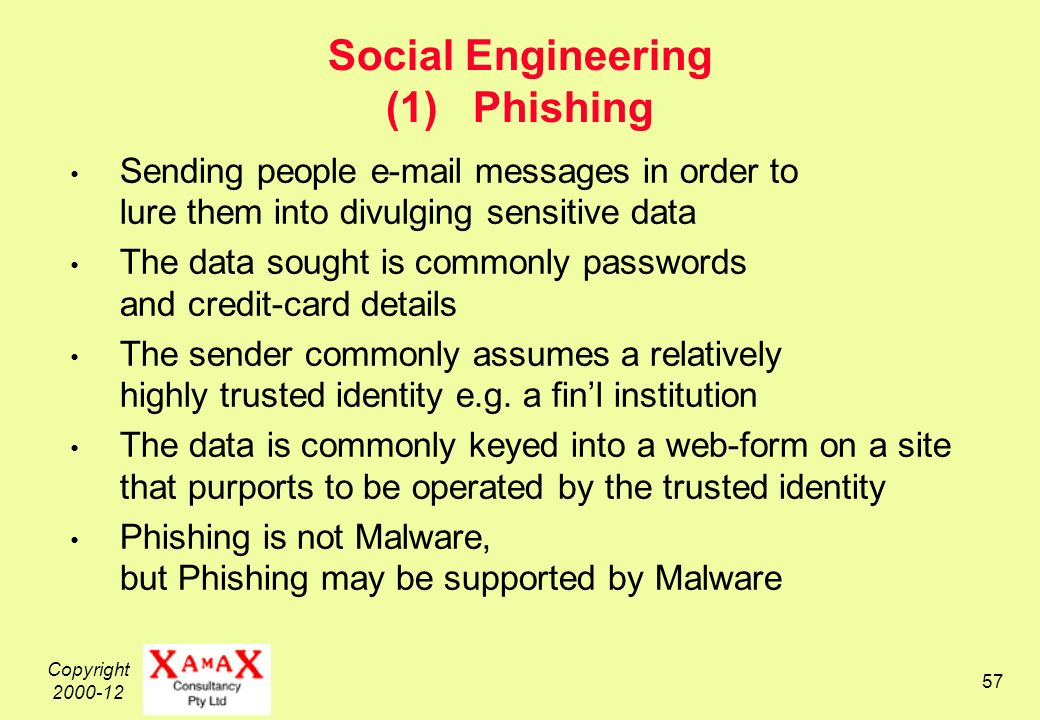 Copyright Social Engineering (1) Phishing Sending people  messages in order to lure them into divulging sensitive data The data sought is commonly passwords and credit-card details The sender commonly assumes a relatively highly trusted identity e.g.