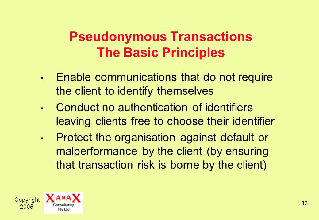 Copyright Pseudonymous Transactions The Basic Principles Enable communications that do not require the client to identify themselves Conduct no authentication of identifiers leaving clients free to choose their identifier Protect the organisation against default or malperformance by the client (by ensuring that transaction risk is borne by the client)
