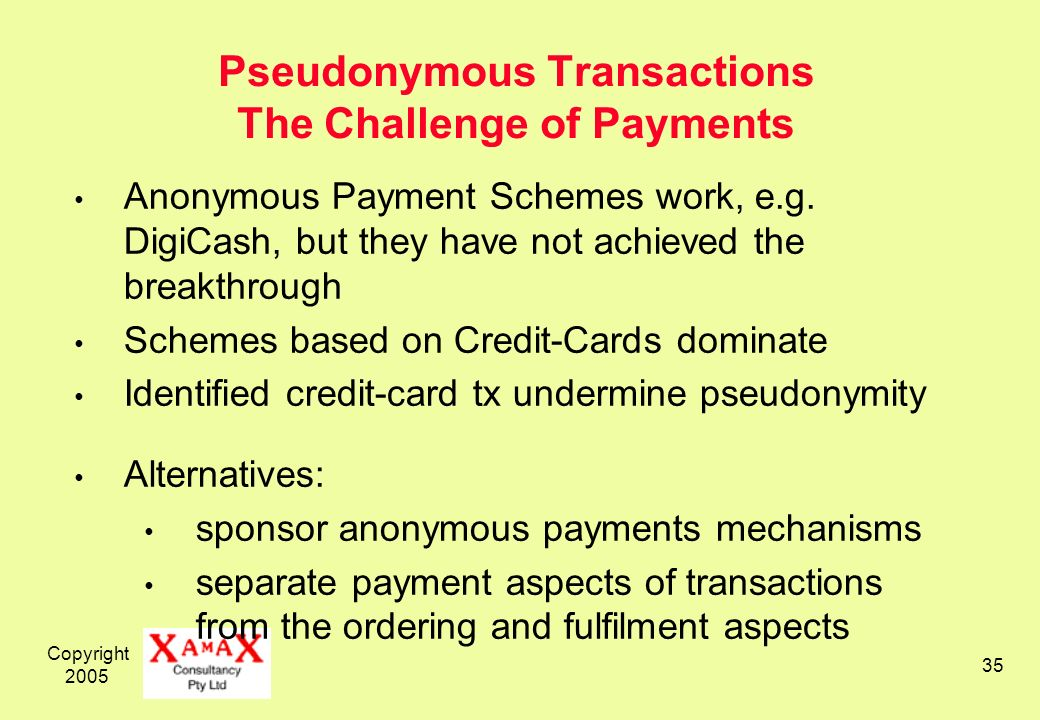 Copyright Pseudonymous Transactions The Challenge of Payments Anonymous Payment Schemes work, e.g.
