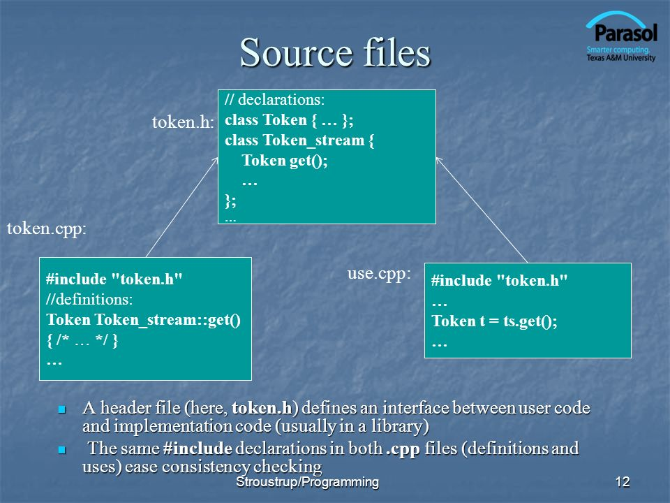 Source files A header file (here, token.h) defines an interface between user code and implementation code (usually in a library) A header file (here, token.h) defines an interface between user code and implementation code (usually in a library) The same #include declarations in both.cpp files (definitions and uses) ease consistency checking The same #include declarations in both.cpp files (definitions and uses) ease consistency checking 12 // declarations: class Token { … }; class Token_stream { Token get(); … }; … #include token.h //definitions: Token Token_stream::get() { /* … */ } … #include token.h … Token t = ts.get(); … token.h: token.cpp: use.cpp: Stroustrup/Programming