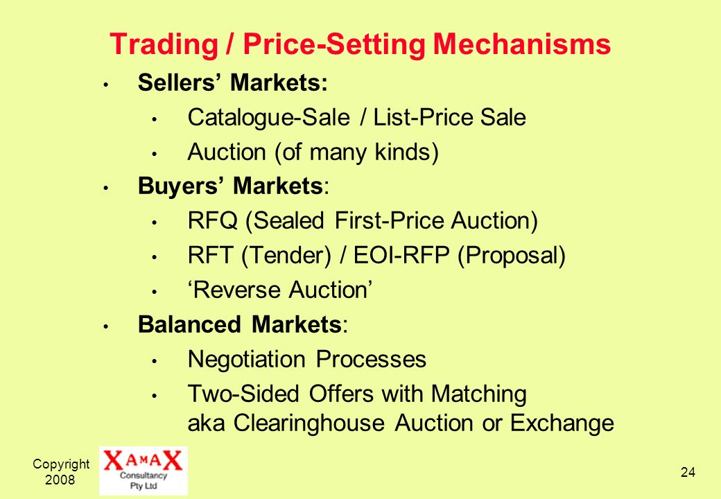 Copyright Trading / Price-Setting Mechanisms Sellers Markets: Catalogue-Sale / List-Price Sale Auction (of many kinds) Buyers Markets: RFQ (Sealed First-Price Auction) RFT (Tender) / EOI-RFP (Proposal) Reverse Auction Balanced Markets: Negotiation Processes Two-Sided Offers with Matching aka Clearinghouse Auction or Exchange