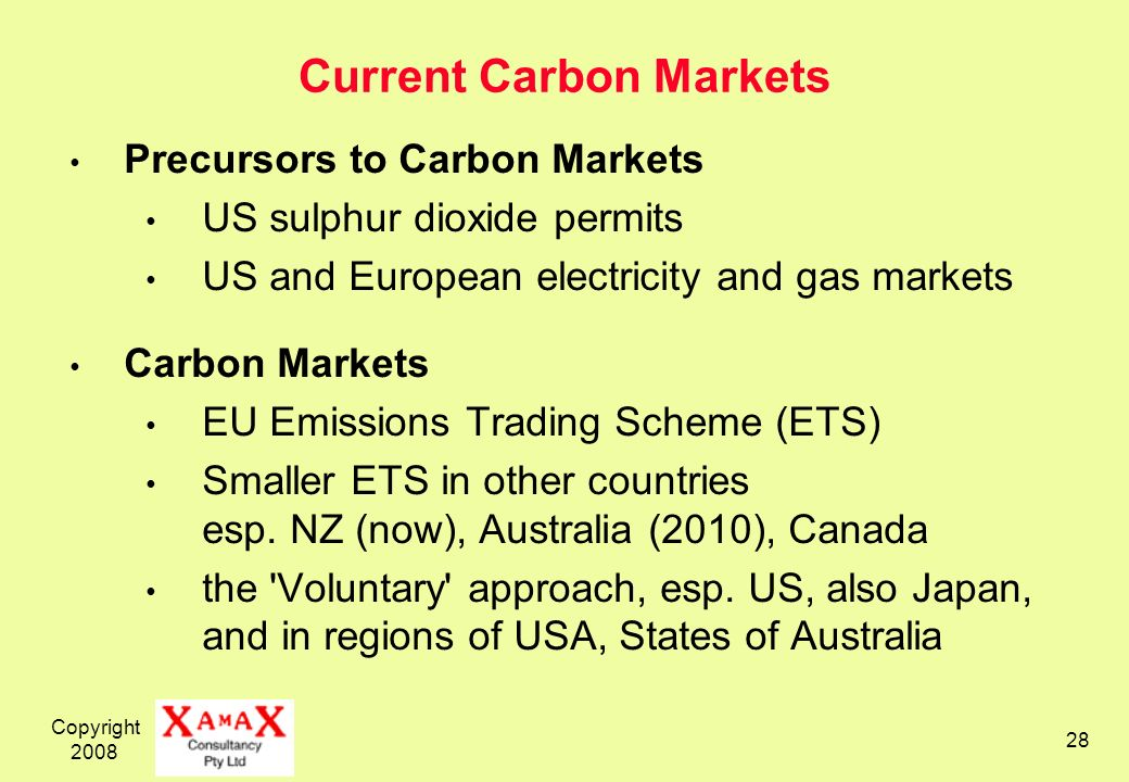 Copyright Current Carbon Markets Precursors to Carbon Markets US sulphur dioxide permits US and European electricity and gas markets Carbon Markets EU Emissions Trading Scheme (ETS) Smaller ETS in other countries esp.