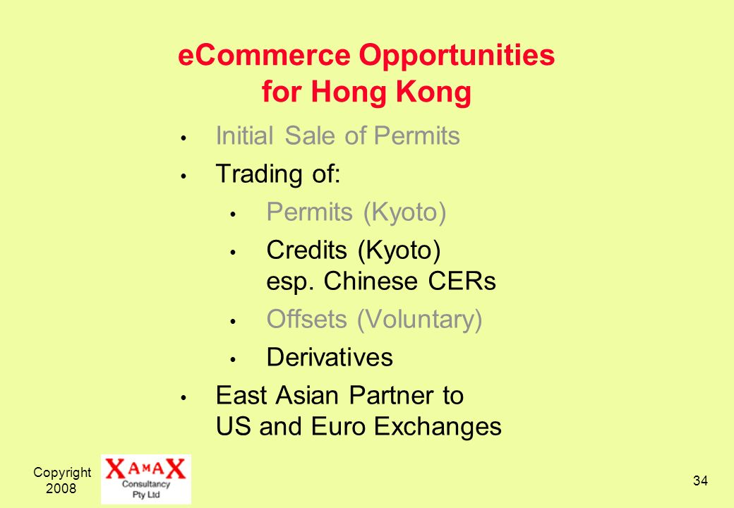 Copyright eCommerce Opportunities for Hong Kong Initial Sale of Permits Trading of: Permits (Kyoto) Credits (Kyoto) esp.