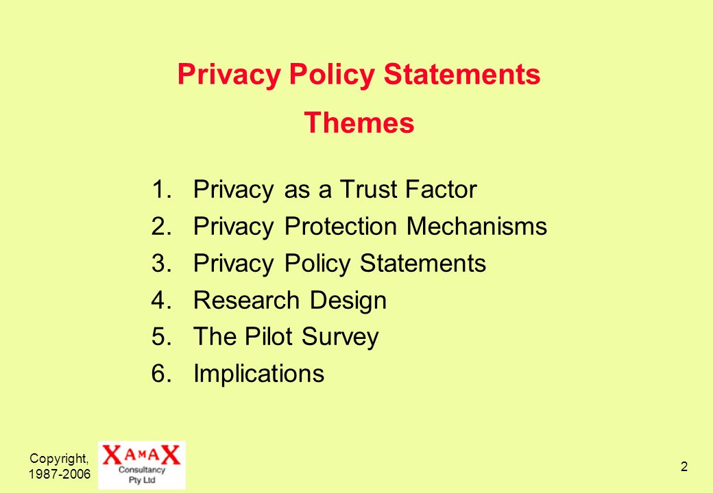 Copyright, 1987-2006 2 Privacy Policy Statements Themes 1.Privacy as a Trust Factor 2.Privacy Protection Mechanisms 3.Privacy Policy Statements 4.Research Design 5.The Pilot Survey 6.Implications