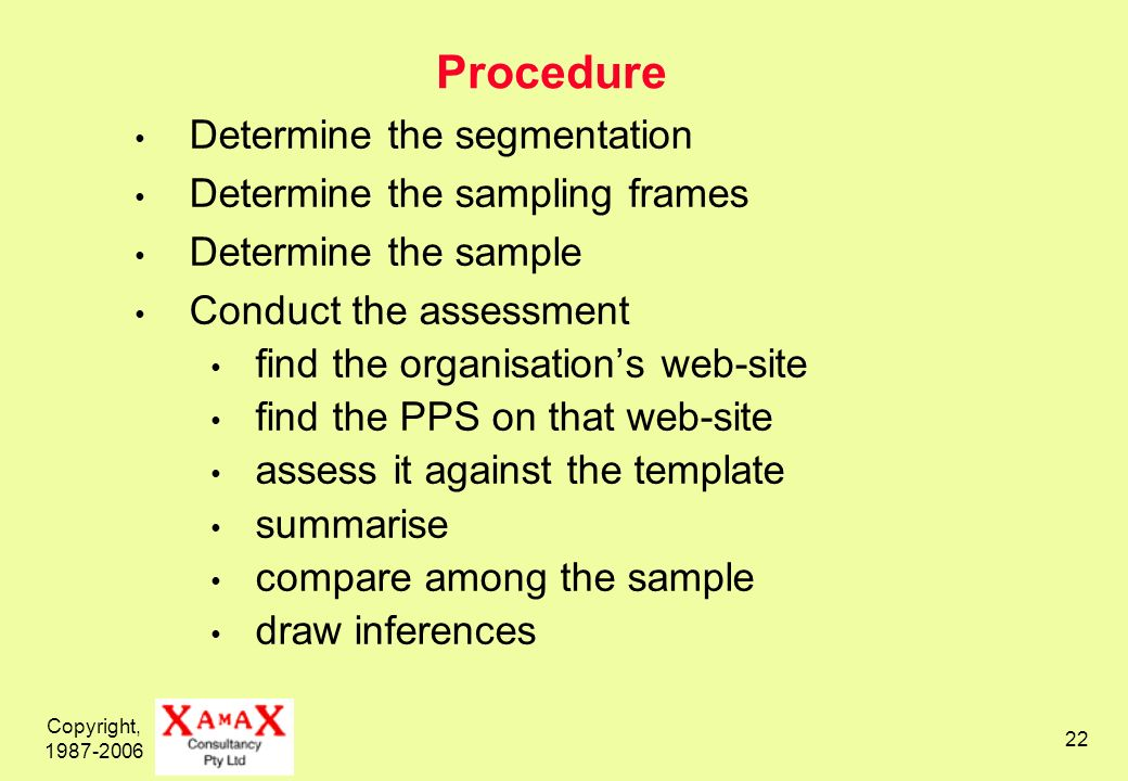 Copyright, 1987-2006 22 Procedure Determine the segmentation Determine the sampling frames Determine the sample Conduct the assessment find the organisations web-site find the PPS on that web-site assess it against the template summarise compare among the sample draw inferences