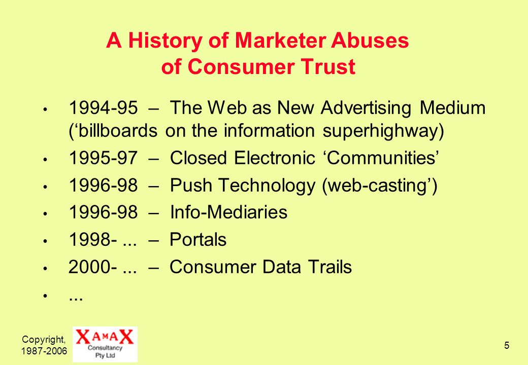 Copyright, 1987-2006 5 A History of Marketer Abuses of Consumer Trust 1994-95 – The Web as New Advertising Medium (billboards on the information superhighway) 1995-97 – Closed Electronic Communities 1996-98 – Push Technology (web-casting) 1996-98 – Info-Mediaries 1998-...