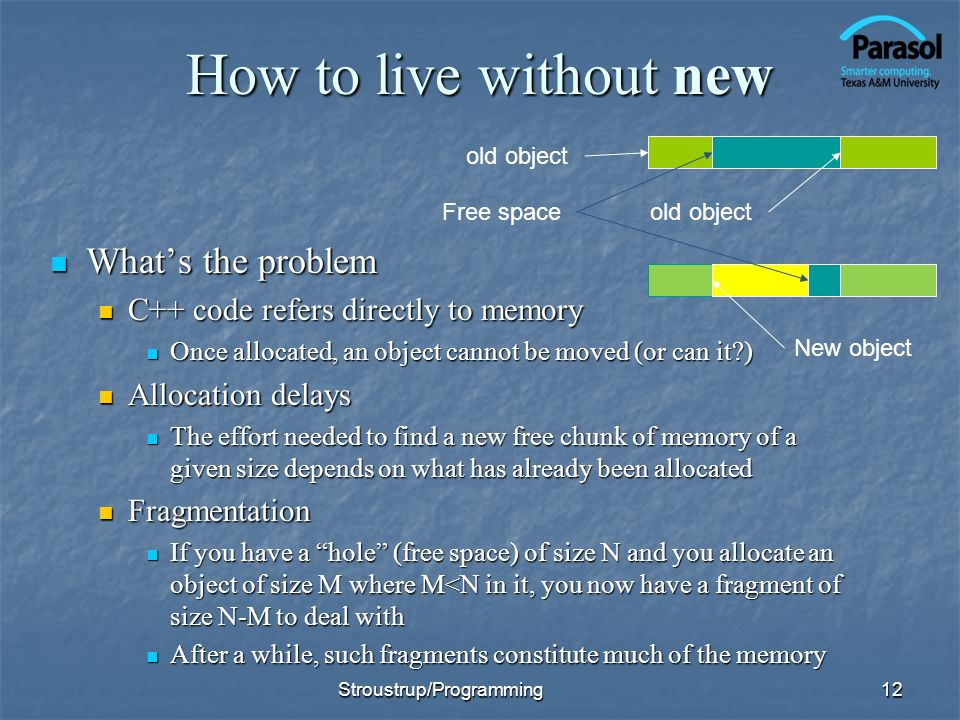 How to live without new Whats the problem Whats the problem C++ code refers directly to memory C++ code refers directly to memory Once allocated, an object cannot be moved (or can it ) Once allocated, an object cannot be moved (or can it ) Allocation delays Allocation delays The effort needed to find a new free chunk of memory of a given size depends on what has already been allocated The effort needed to find a new free chunk of memory of a given size depends on what has already been allocated Fragmentation Fragmentation If you have a hole (free space) of size N and you allocate an object of size M where M<N in it, you now have a fragment of size N-M to deal with If you have a hole (free space) of size N and you allocate an object of size M where M<N in it, you now have a fragment of size N-M to deal with After a while, such fragments constitute much of the memory After a while, such fragments constitute much of the memory 12 Free space New object old object Stroustrup/Programming