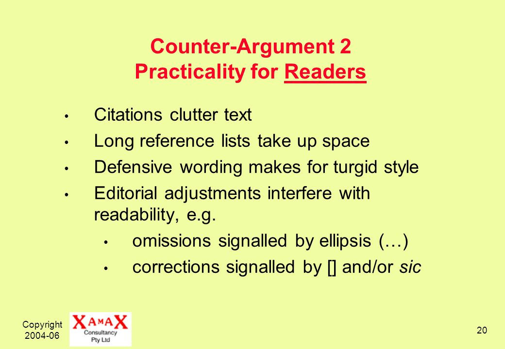 Copyright 2004-06 20 Counter-Argument 2 Practicality for Readers Citations clutter text Long reference lists take up space Defensive wording makes for turgid style Editorial adjustments interfere with readability, e.g.