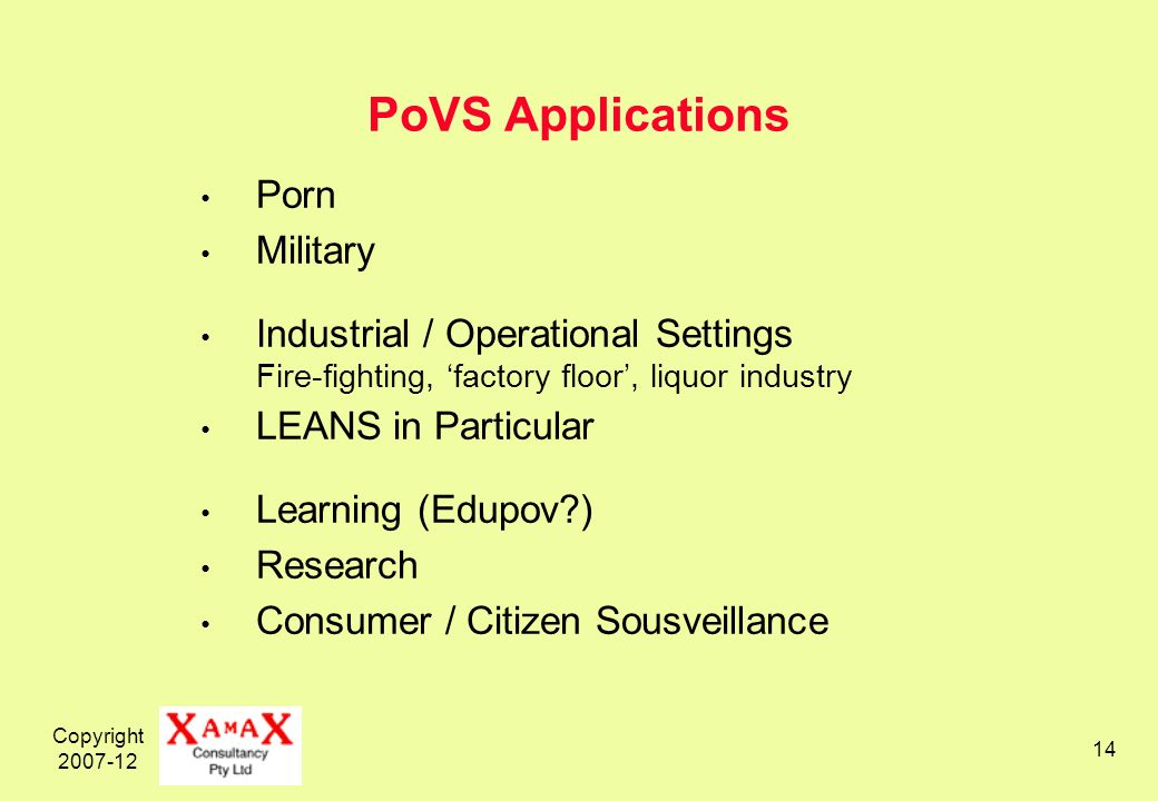 Copyright PoVS Applications Porn Military Industrial / Operational Settings Fire-fighting, factory floor, liquor industry LEANS in Particular Learning (Edupov ) Research Consumer / Citizen Sousveillance