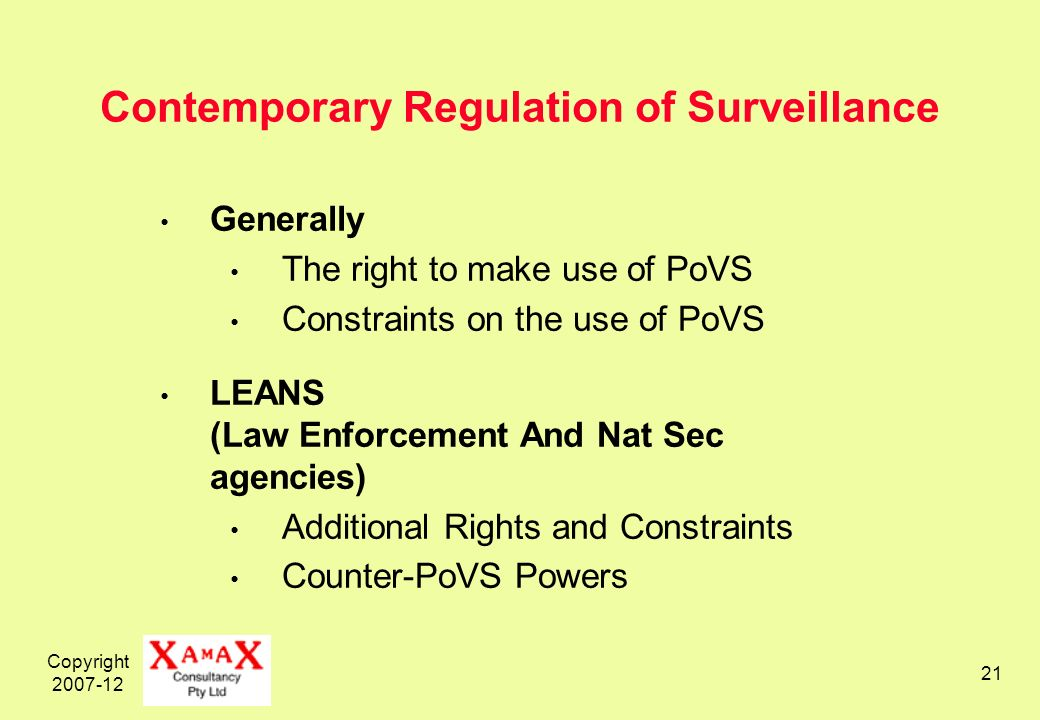 Copyright Contemporary Regulation of Surveillance Generally The right to make use of PoVS Constraints on the use of PoVS LEANS (Law Enforcement And Nat Sec agencies) Additional Rights and Constraints Counter-PoVS Powers