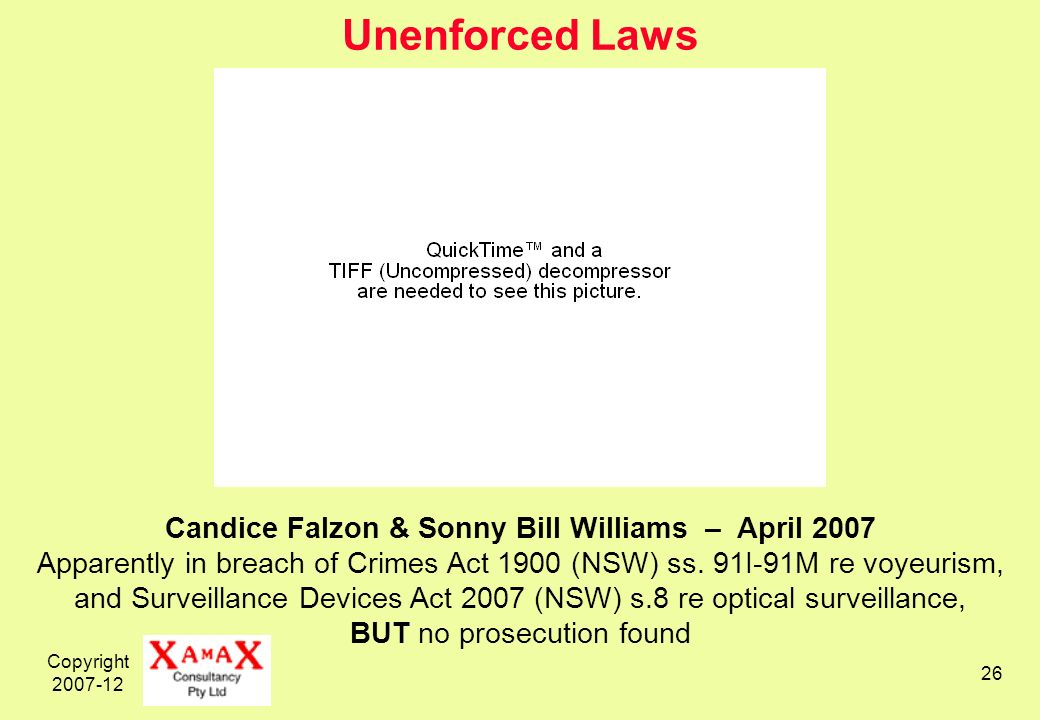 Copyright Unenforced Laws Candice Falzon & Sonny Bill Williams – April 2007 Apparently in breach of Crimes Act 1900 (NSW) ss.