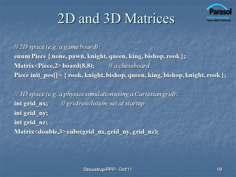 2D and 3D Matrices // 2D space (e.g.
