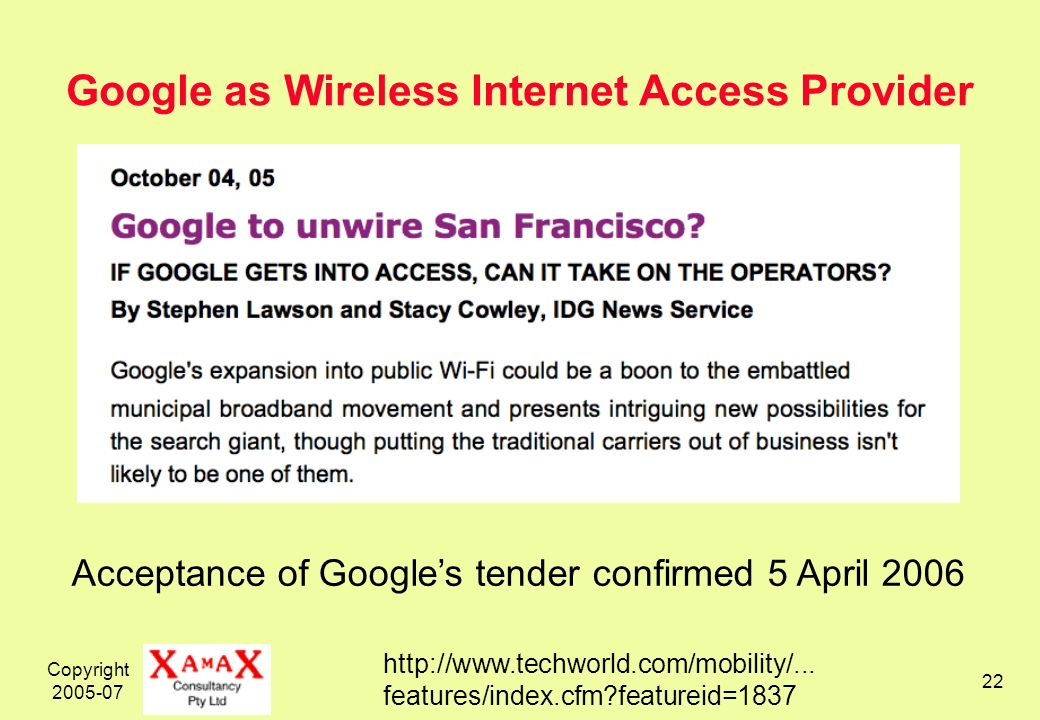 Copyright Google as Wireless Internet Access Provider