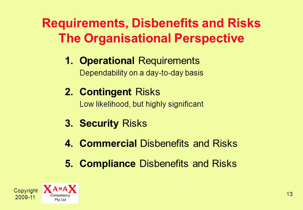 Copyright Requirements, Disbenefits and Risks The Organisational Perspective 1.Operational Requirements Dependability on a day-to-day basis 2.Contingent Risks Low likelihood, but highly significant 3.Security Risks 4.Commercial Disbenefits and Risks 5.Compliance Disbenefits and Risks