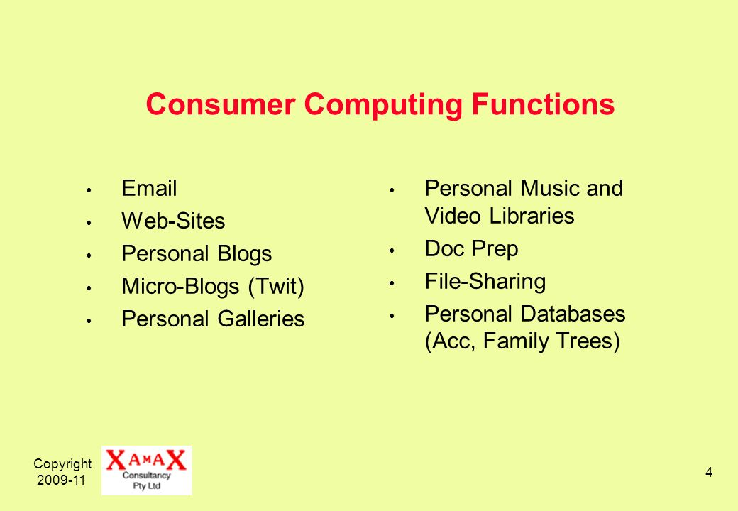 Copyright Consumer Computing Functions  Web-Sites Personal Blogs Micro-Blogs (Twit) Personal Galleries Personal Music and Video Libraries Doc Prep File-Sharing Personal Databases (Acc, Family Trees)
