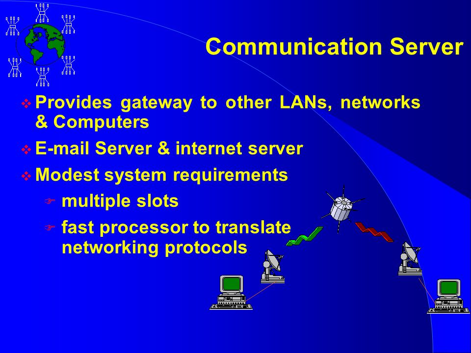 Communication Server v Provides gateway to other LANs, networks & Computers v E-mail Server & internet server v Modest system requirements F multiple slots F fast processor to translate networking protocols