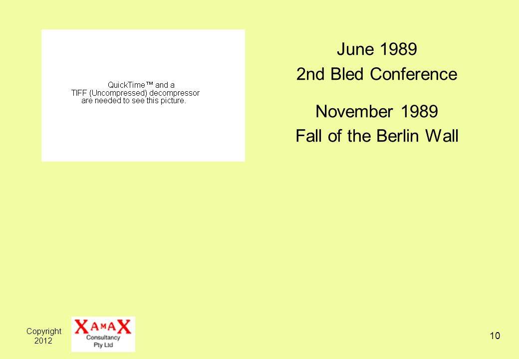 Copyright June nd Bled Conference November 1989 Fall of the Berlin Wall