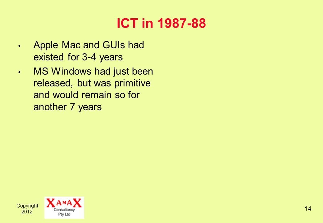 Copyright ICT in Apple Mac and GUIs had existed for 3-4 years MS Windows had just been released, but was primitive and would remain so for another 7 years