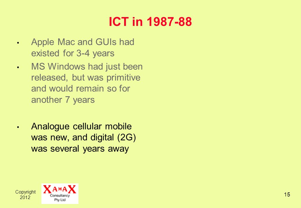 Copyright ICT in Apple Mac and GUIs had existed for 3-4 years MS Windows had just been released, but was primitive and would remain so for another 7 years Analogue cellular mobile was new, and digital (2G) was several years away
