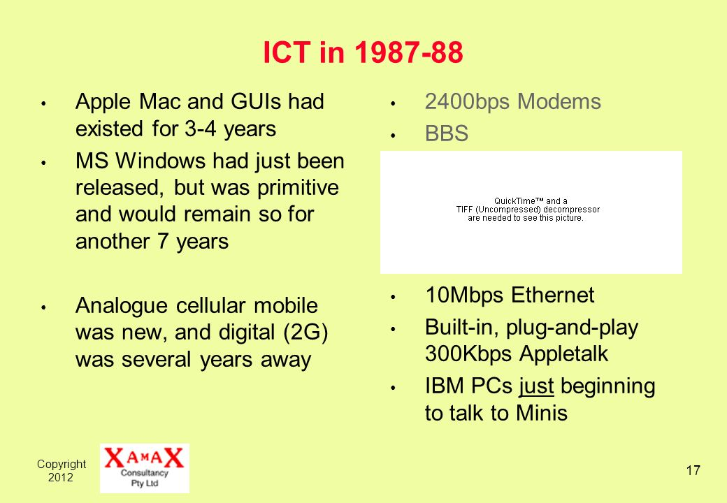 Copyright ICT in Apple Mac and GUIs had existed for 3-4 years MS Windows had just been released, but was primitive and would remain so for another 7 years Analogue cellular mobile was new, and digital (2G) was several years away 2400bps Modems BBS 10Mbps Ethernet Built-in, plug-and-play 300Kbps Appletalk IBM PCs just beginning to talk to Minis