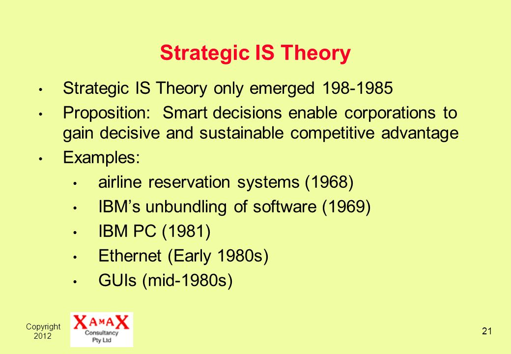 Copyright Strategic IS Theory Strategic IS Theory only emerged Proposition: Smart decisions enable corporations to gain decisive and sustainable competitive advantage Examples: airline reservation systems (1968) IBMs unbundling of software (1969) IBM PC (1981) Ethernet (Early 1980s) GUIs (mid-1980s)