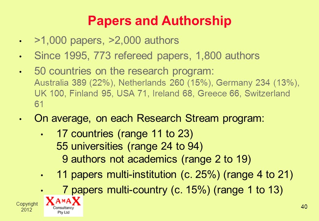 Copyright Papers and Authorship >1,000 papers, >2,000 authors Since 1995, 773 refereed papers, 1,800 authors 50 countries on the research program: Australia 389 (22%), Netherlands 260 (15%), Germany 234 (13%), UK 100, Finland 95, USA 71, Ireland 68, Greece 66, Switzerland 61 On average, on each Research Stream program: 17 countries (range 11 to 23) 55 universities (range 24 to 94) 9 authors not academics (range 2 to 19) 11 papers multi-institution (c.