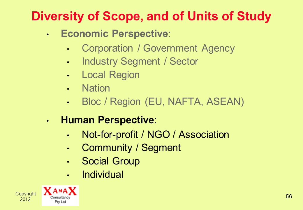 Copyright Diversity of Scope, and of Units of Study Economic Perspective: Corporation / Government Agency Industry Segment / Sector Local Region Nation Bloc / Region (EU, NAFTA, ASEAN) Human Perspective: Not-for-profit / NGO / Association Community / Segment Social Group Individual