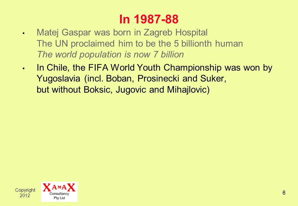 Copyright In Matej Gaspar was born in Zagreb Hospital The UN proclaimed him to be the 5 billionth human The world population is now 7 billion In Chile, the FIFA World Youth Championship was won by Yugoslavia (incl.