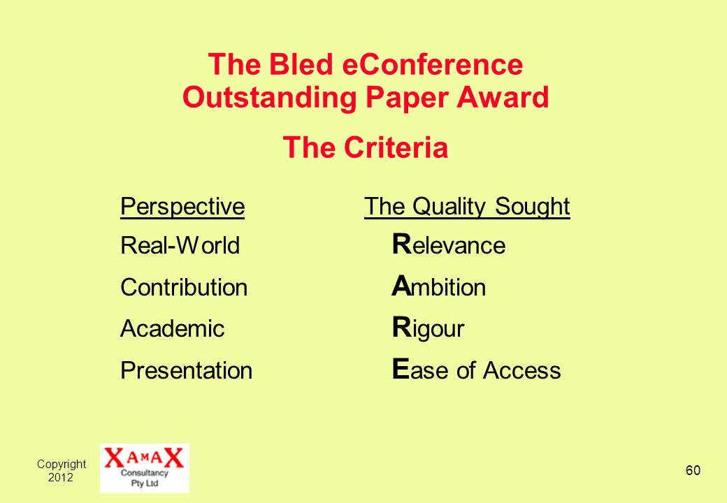 Copyright The Bled eConference Outstanding Paper Award The Criteria Perspective The Quality Sought Real-World R elevance Contribution A mbition Academic R igour Presentation E ase of Access