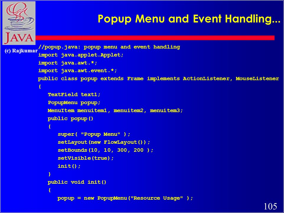105 (c) Rajkumar Popup Menu and Event Handling...
