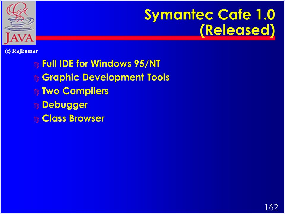 162 (c) Rajkumar Symantec Cafe 1.0 (Released) c Full IDE for Windows 95/NT c Graphic Development Tools c Two Compilers c Debugger c Class Browser